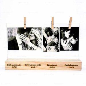 Base para fotos de madera personalizado con láser para fechas importantes de una pareja