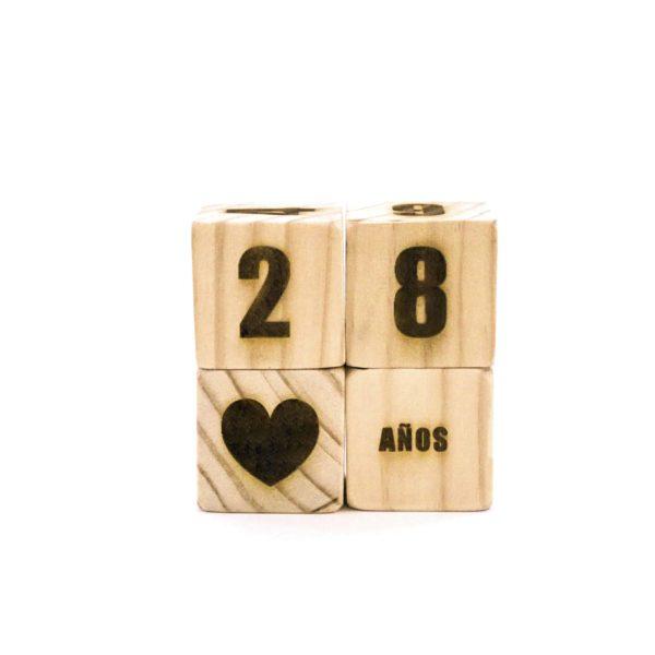 Bloques de madera para cumpleaños grabados con láser