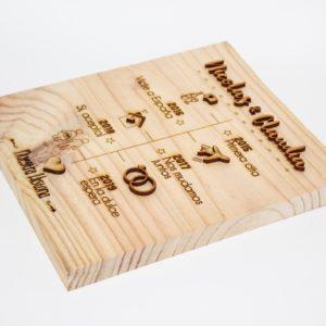 Cuadro de madera con la temática linea de tiempo personalizado y grabado con láser modelo 001
