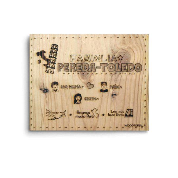 Cuadro de madera con la temática mi familia personalizado y grabado con laser modelo 001