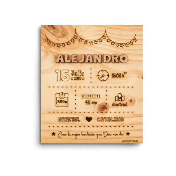Cuadro de madera personalizado con láser natalicio de Alejandro