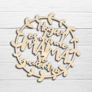 Placa de madera personalizada y troquelada con láser para el día de la madre fondo blanco