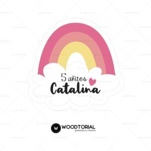 Topper personalizable con la frase Catalina 5 añitos
