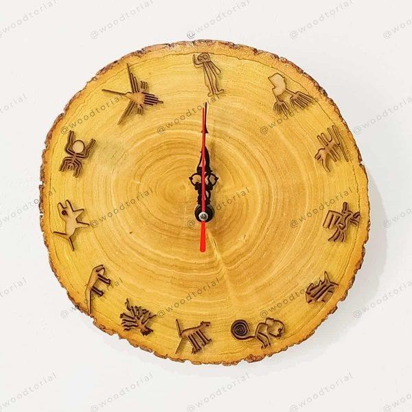 Reloj de madera personalizado con las líneas de Nazca