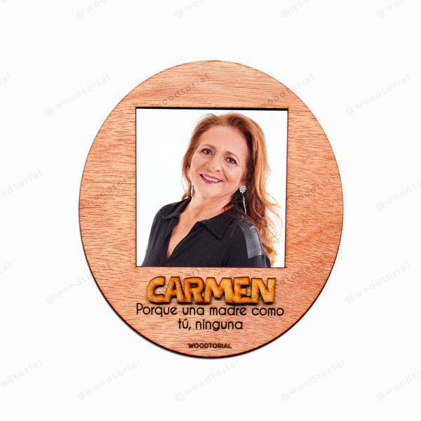 Portafoto circular de madera imantado y personalizado para mamá