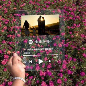 Placa de acrílico con Código QR de Spotify para el día de la madre