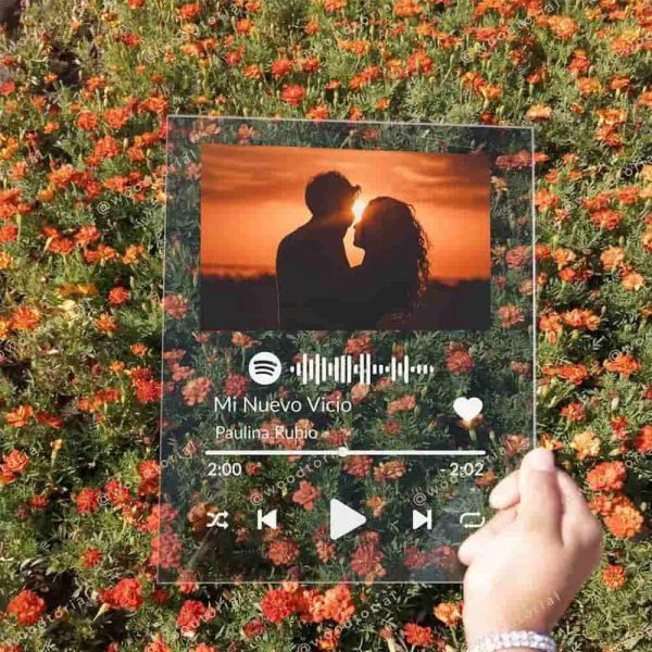 Placa Spotify hecha de acrílico y personalizada con foto