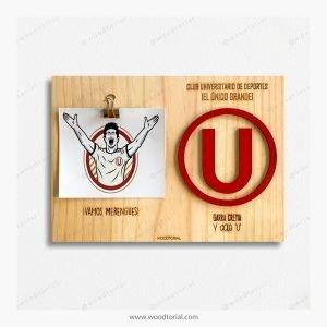 Cuadro con escudo del club deportivo Universitario de deportes personalizado con grabado laser