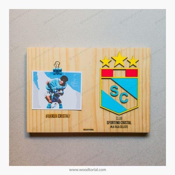 Cuadro con escudo del club deportivo Sporting Cristal personalizado con grabado laser